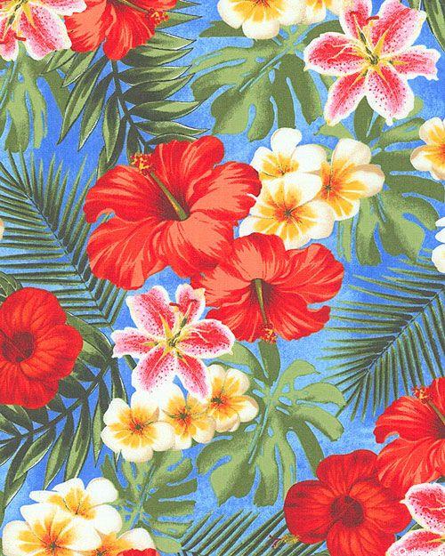Rainforest - Wild Hibiscus Grove - Sky Blue