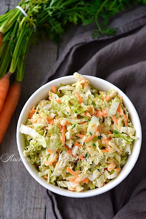 Photo of Chinese cabbage salad with carrot and apple