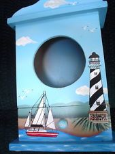 AWESOME NAUTICAL  GREAT DETAIL LIGHTHOUSE COLLECTORS WOODEN BOX WITH DRAWER