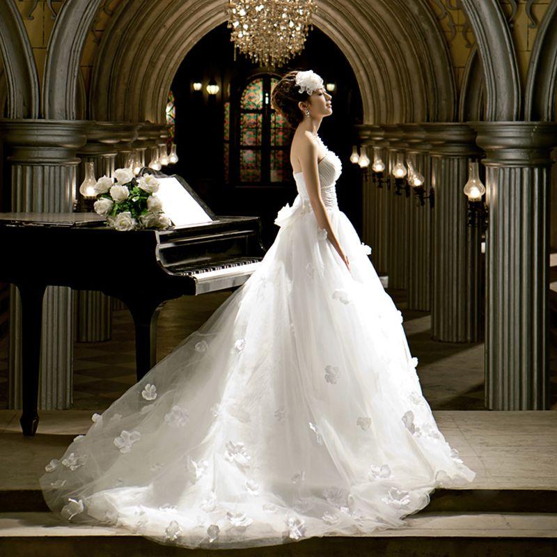 Love Farah shoulder Luxury trailing bridal dress new cute Korean ...