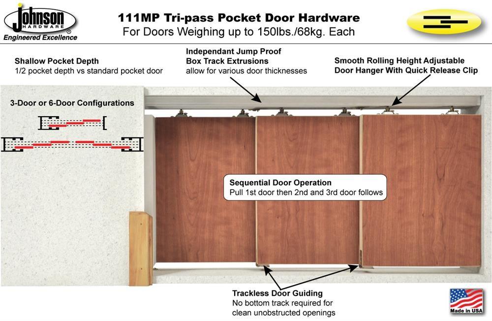 Johnson Hardware 111mp Tri Pass Pocket Door Hardware Jhusa Net