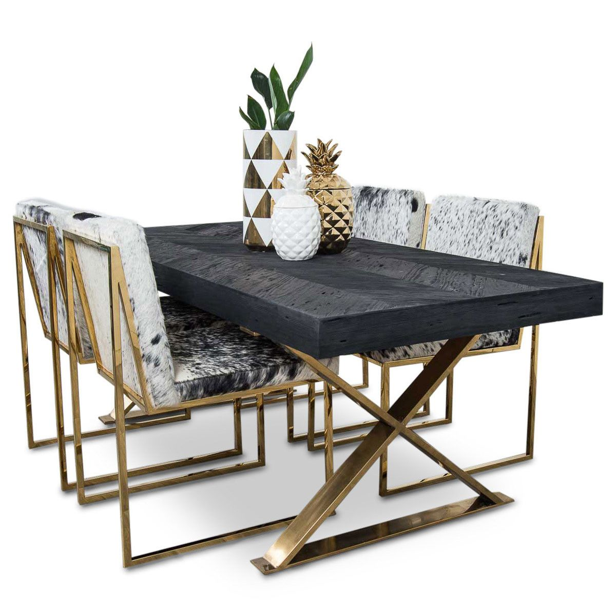 Bordeaux Dining Table With Brass X Legs Modern Dining Room