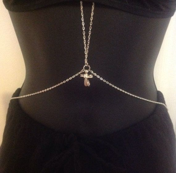 Sexy Silver tone Rhinestone cross accented by GypsyBeachBodyJewels