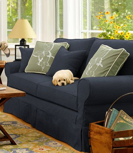 Pine Point Slipcovered Sofa With Images Blue Living Room Decor Slipcovered Sofa Slip Covers Couch