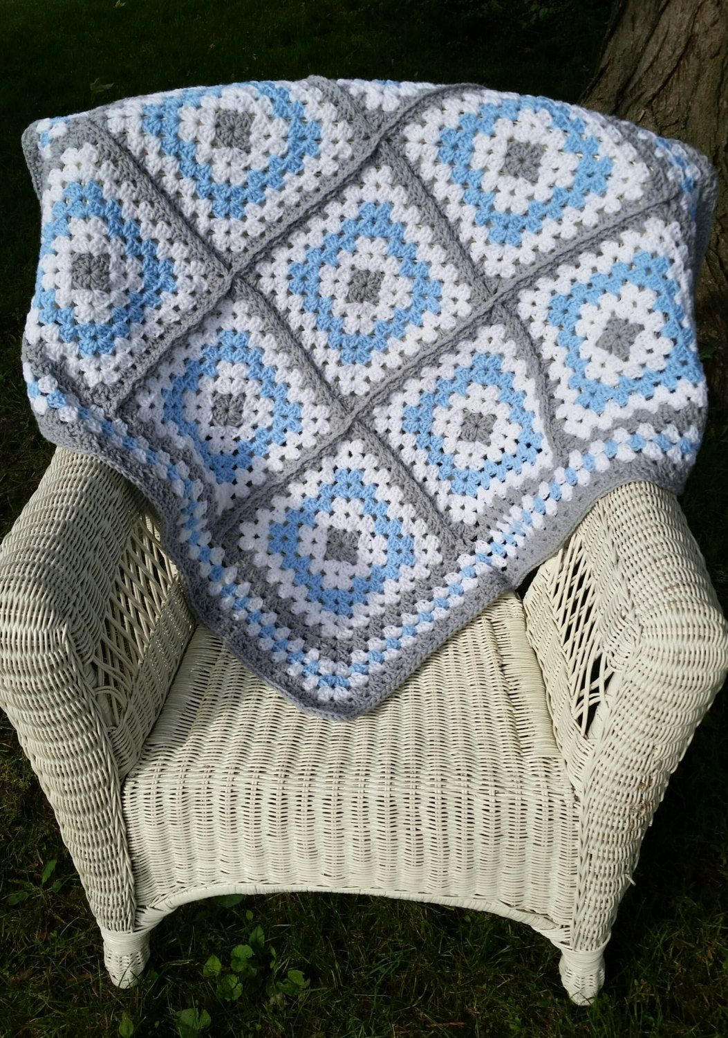 Blue and Grey Granny Square Baby Blanket, Crochet Baby Blanket, Baby ...