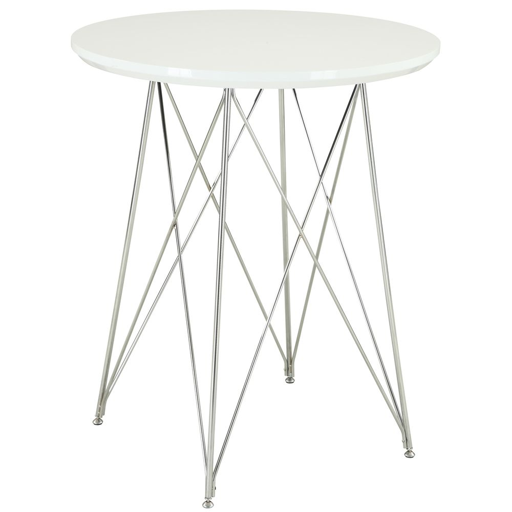 Glossy White Chrome 36 Inch Bar Table Ping S On Monarch Tables 155