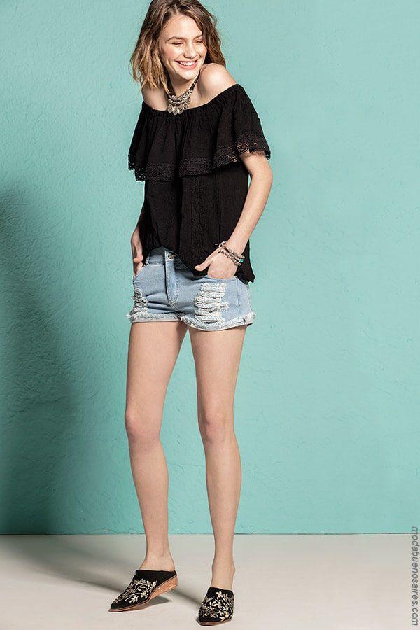 0058af9db Blusas de moda primavera verano 2018. Moda mujer estilo juvenil. Ropa de moda  para mujer. Blusas hombros al descubierto.