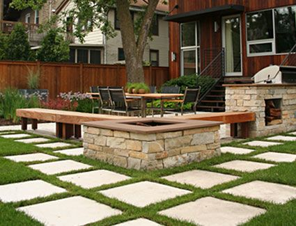 Concrete Square Paver Patio With Grass, Appletree Staging: Letu0027s .