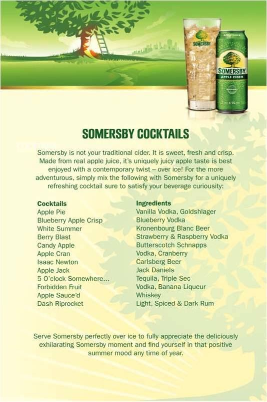 Somersby Cocktails DRINKS In 2019 Summer Drink Recipes