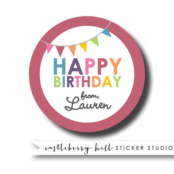 Glossy personalized gift sticker custom gift tag personalised sticker thank you for coming to my birthday sticker tween birthday sticker sizes 2 round