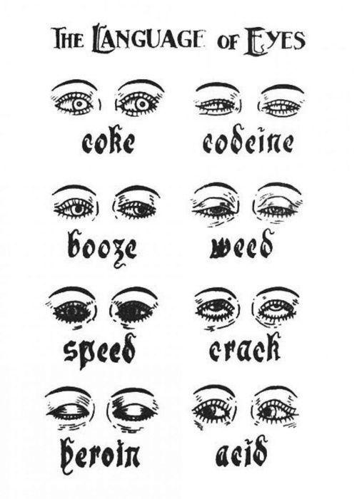 zo kan je zien hoe iemand zn ogen eruit zien als hij drugs heeft gebruikt en dat het best gevaarlijk is