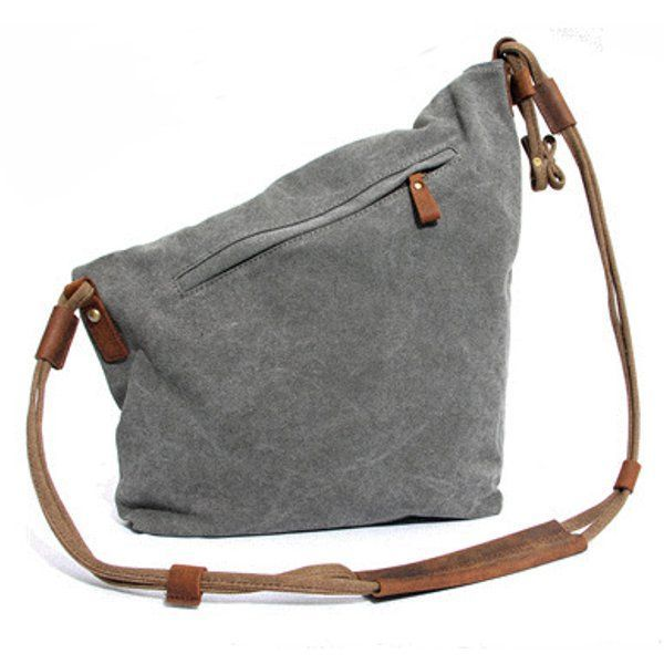 1aa14e11caec Ekphero Women Men Canvas Crazy Horse Gray Button Shoulder Bags Cowhide  Casual Crossbody Bags