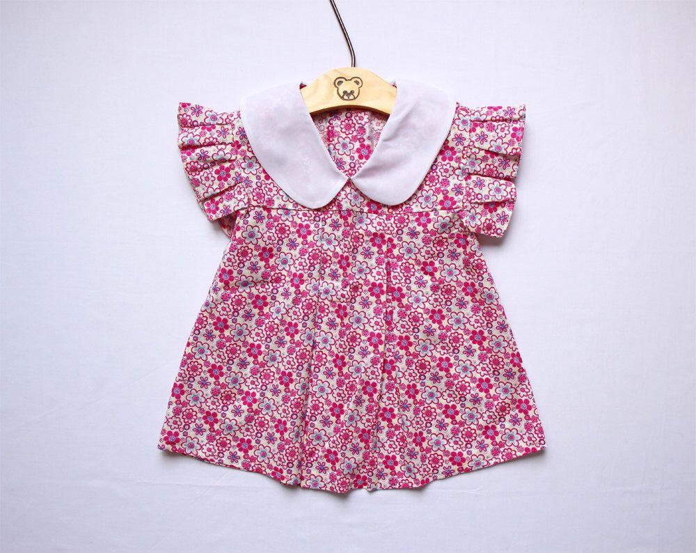 1c1a5a0abc50 Floral Girl Dress Peter Pan Collar Flutterf Sleeve Dress Baby Girl ...