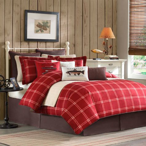 Red and black plaid bedding with bears and accents for Cabin themed bedroom ideas