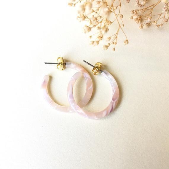 Light Pink Tortoise Hoop Earrings Tortoise Shell Hoop   Etsy,  #Earrings #etsy #hoop , 23mm L…