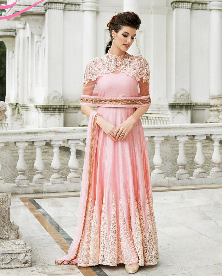 Pink gown style anarkali suit with embroidered flare pink