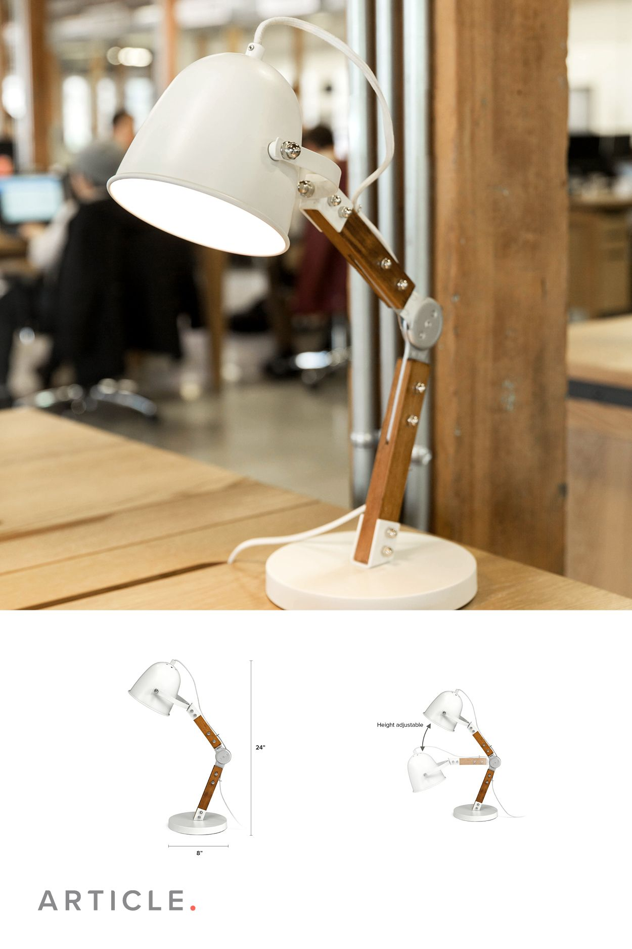 Mid Century Modern Industrial Pivoting Task Lamp