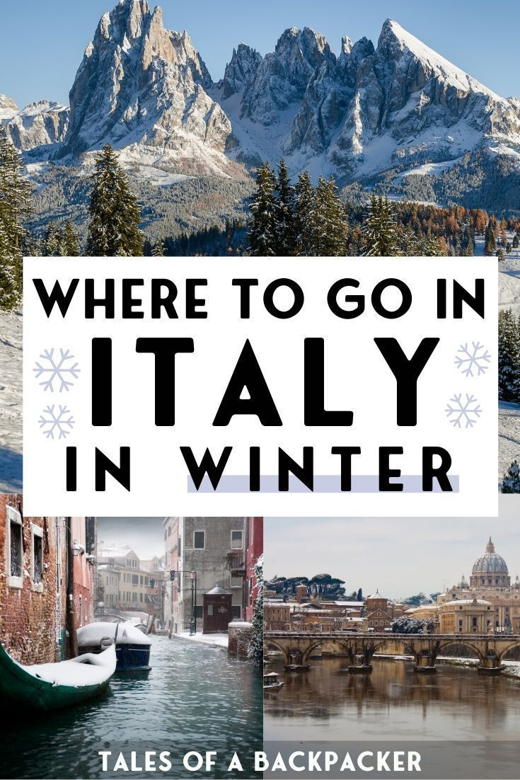 Where to go in Italy in Winter : The ultimate Italy Winter Guide. Tons of info on which Italian cities and areas to visit during winter, what to pack, the weather and the best places for winter sport to go skiing. Read it if you're planning a trip to Italy in winter! Here are my picks for where to go in Italy in winter, from skiing in the Dolomites to winter sun in Sicily, Christmas in Turin or Rome, and peaceful Venice. #Italy #Travel #Winter #Rome #Venice #Skiing #Europe #Sicily #Dolomites