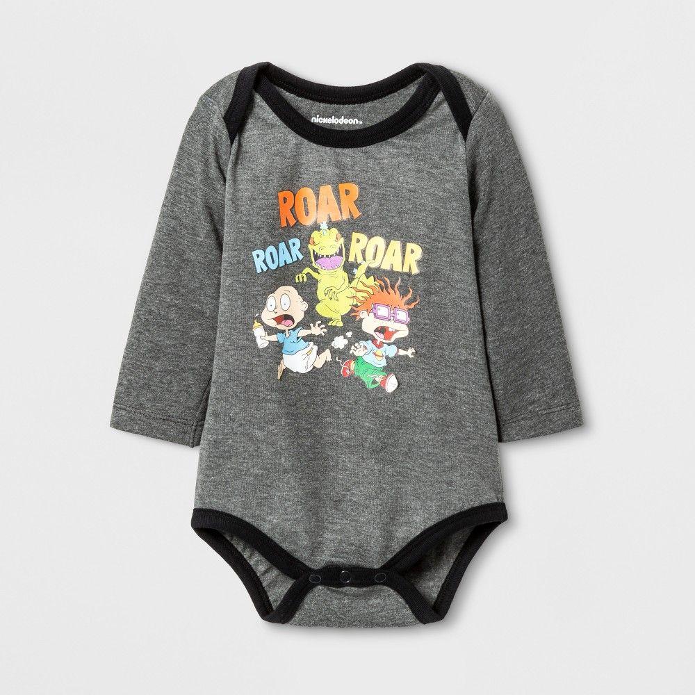 0df3defdc093c Baby Boys  Rugrats Roar Roar Long Sleeve Bodysuit - Gray 9-12M