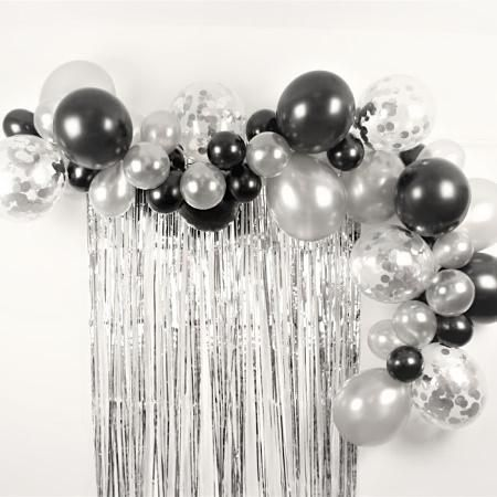 Our Black and Silver Balloon Garland Kit has a mixture of Metallic Black, Metallic Silver and Clear with Silver Confetti balloons in 11 inch and 5 inc...