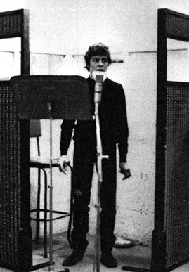 A very young Marc Bolan in the booth  recording The Wizard, Decca 1965.