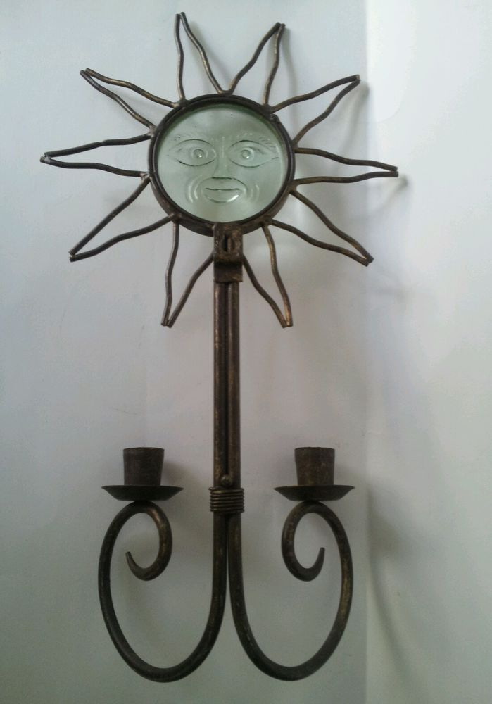 Sun Face Taper Candle Wall Sconce 2 Candlestick Holders Black Iron