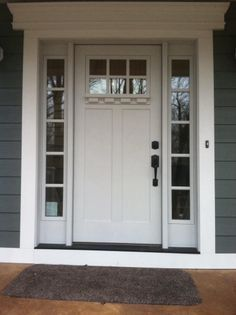 Marvelous Clopay Craftsman Collection Fiberglass Front Door Factory Painted In White  With Clarion Windows, Sidelights And Options Dentil Shelf Molding.