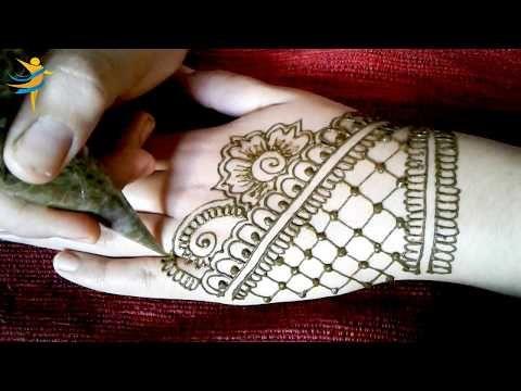 2 تعليم نقش الحناء للمبتدئين رسمة خفيفة و بسيطة على ظهر اليد من قناة عالم النقش بالحناء Youtube Henna Designs Henna Designs Easy Mehndi Designs
