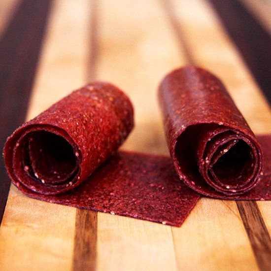 Make this homemade strawberry fruit leather. Its a cinch and only 15 calories a serving.