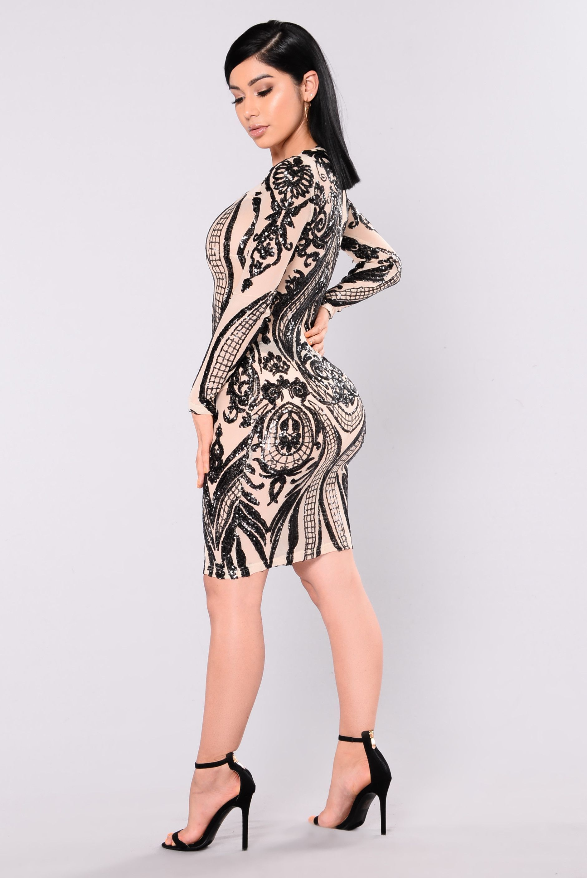 Miss fortune sequin dress nudeblack products