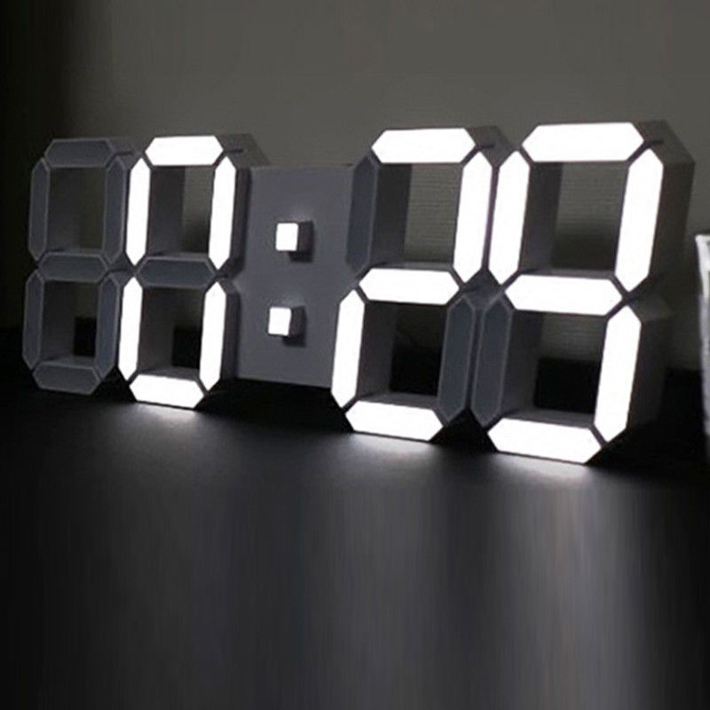 Large Modern Design Digital Led Skeleton Wall Clock Timer 24 12 3D Us Eu