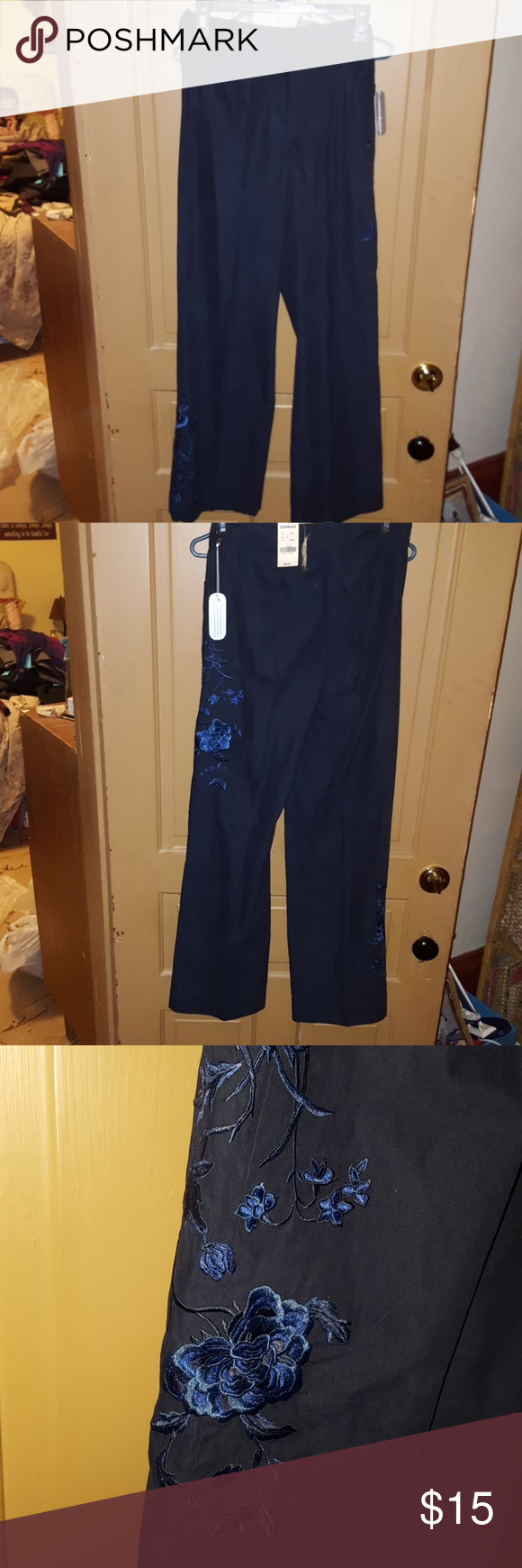 Nwt Express Brand Pants With Blue Embroidery Boutique