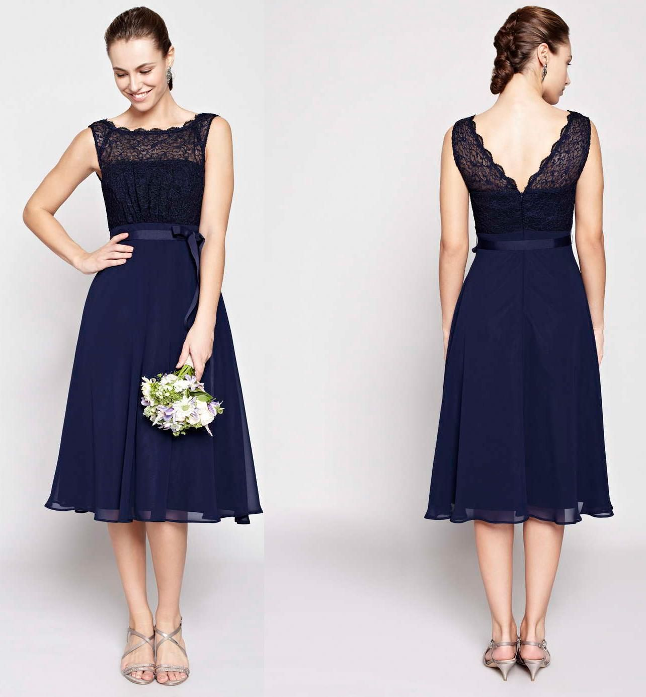 A line tea length bridesmaid dresses chiffon scoop for Black tea length wedding dress