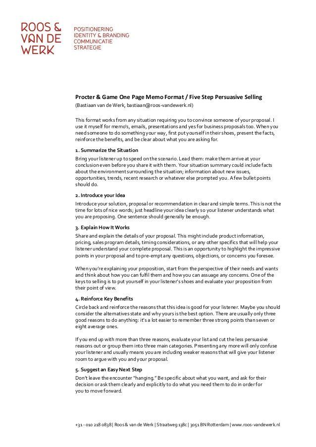 Procter \ Game One Page Memo Format \/ Five Step Persuasive Selling - professional memorandum template