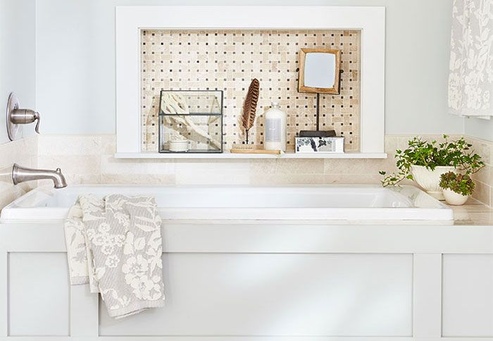 Master Bathroom Tub Makeover With Tile Wall Niche And Paneling - Bathroom tub makeover
