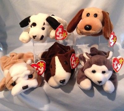 Ty Beanie Babies Lot of 5 - Dog Group 1993 to 1997 Retired 3+ Boy Girl $16.99