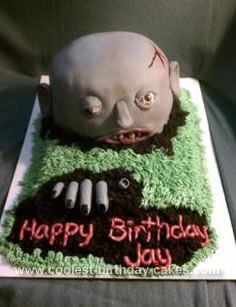 Ghoulish Homemade Zombie Birthday Cake Halloween cakes Birthday