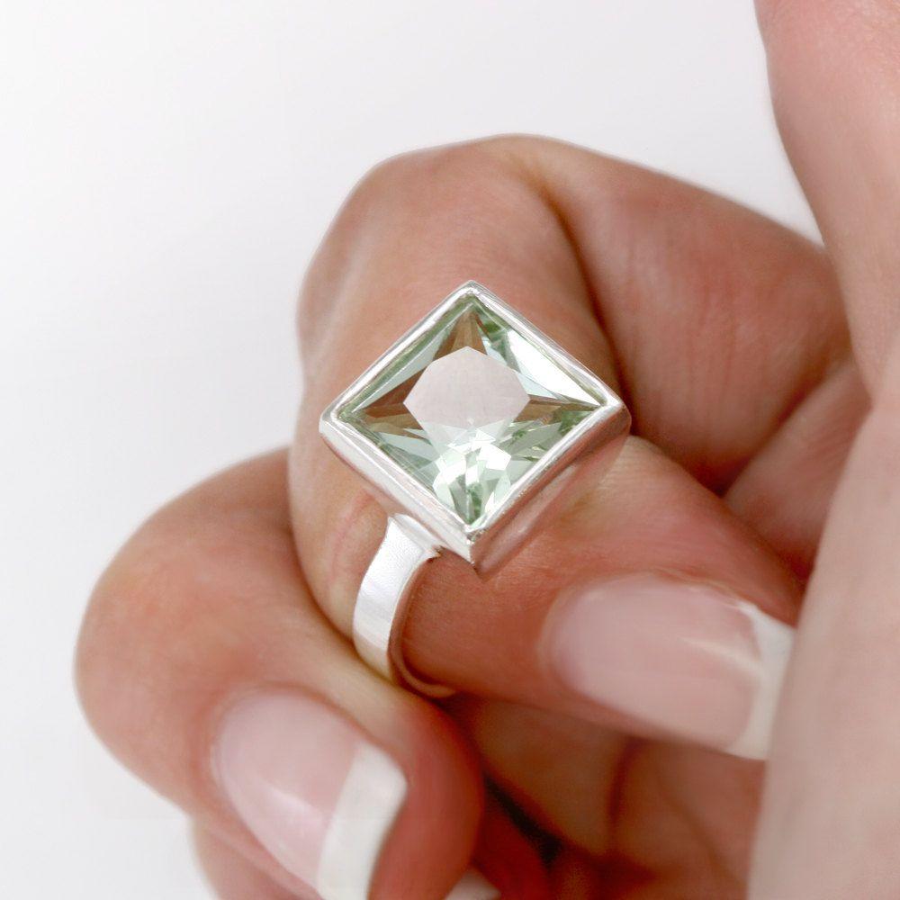 Green Amethyst Ring in Sterling Silver by Scarlett Jewelry