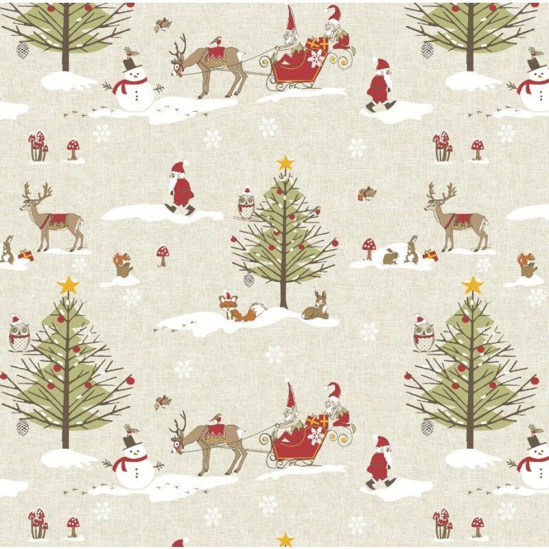 Christmas Woodland Oilcloth Tablecloth