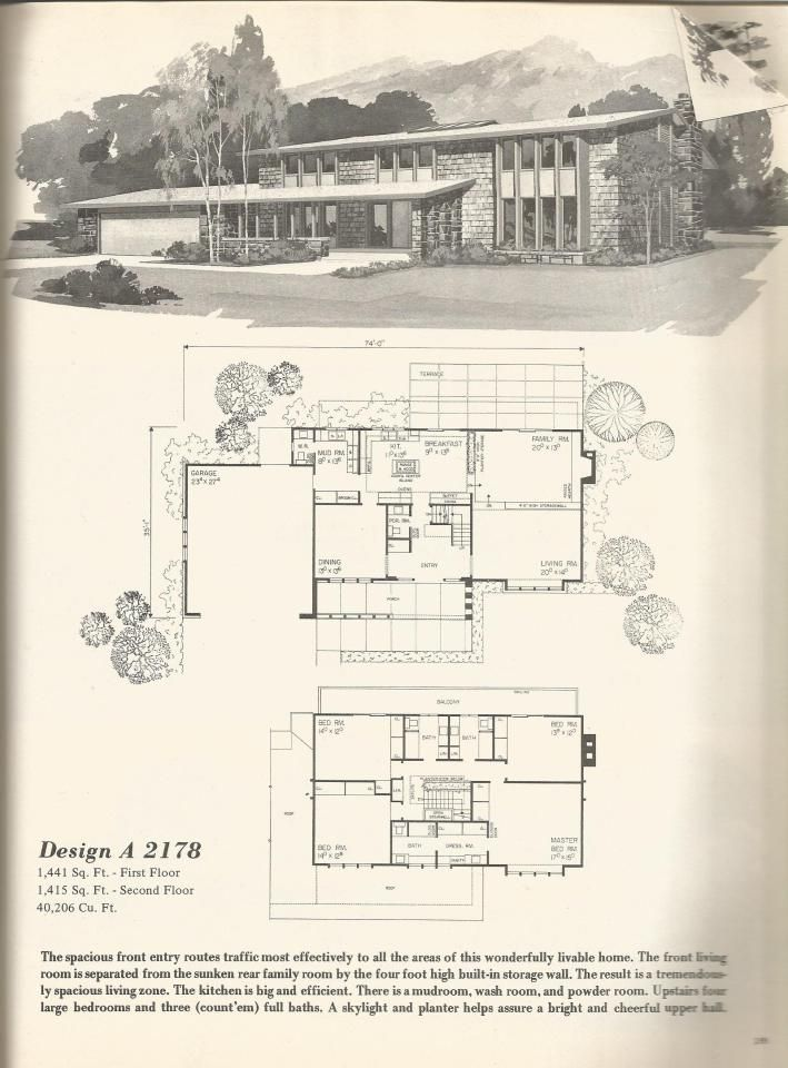 70s vintage house plans mid century homes - 1970s House Designs