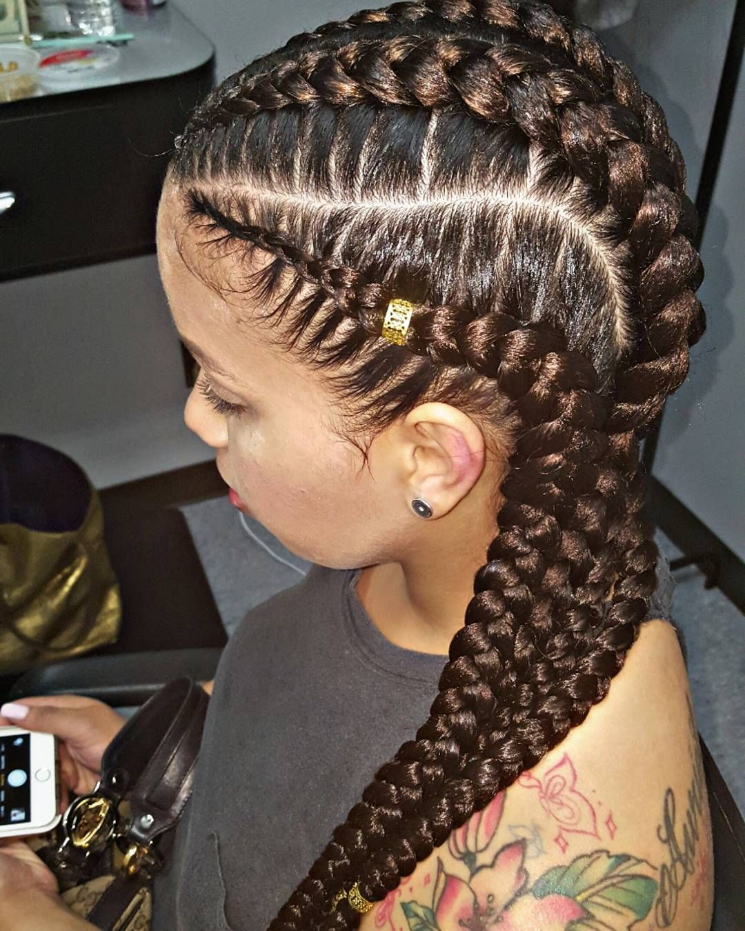 108 Likes 8 Comments Yourfavoritebraider Missy Did Em On Instagram 4 Big B Braids With Extensions Braids Hairstyles Pictures Feed In Braids Hairstyles