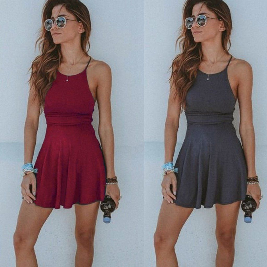 690c38837e Women Summer Casual Sleeveless Evening Party Beach Dress Short Mini Dress