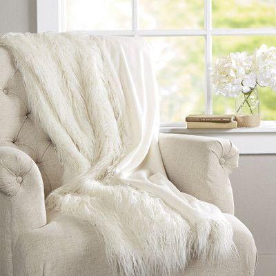 House Of Hampton Greta Faux Fur Throw Blanket Color Ivory