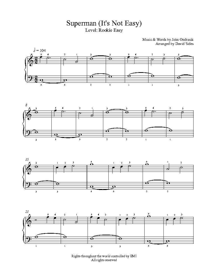 Superman by five for fighting piano sheet music rookie level superman by five for fighting piano sheet music rookie level hexwebz Choice Image