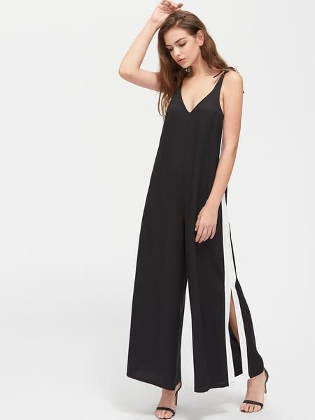 a063c3a626c Black Contrast Knot Shoulder Panel Slit Pinafore Jumpsuit in 2019 ...