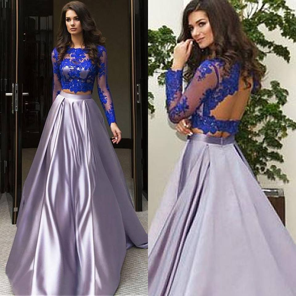 de10b6ec4 Royal Blue Top Grey Satin Skirt Prom Dresses