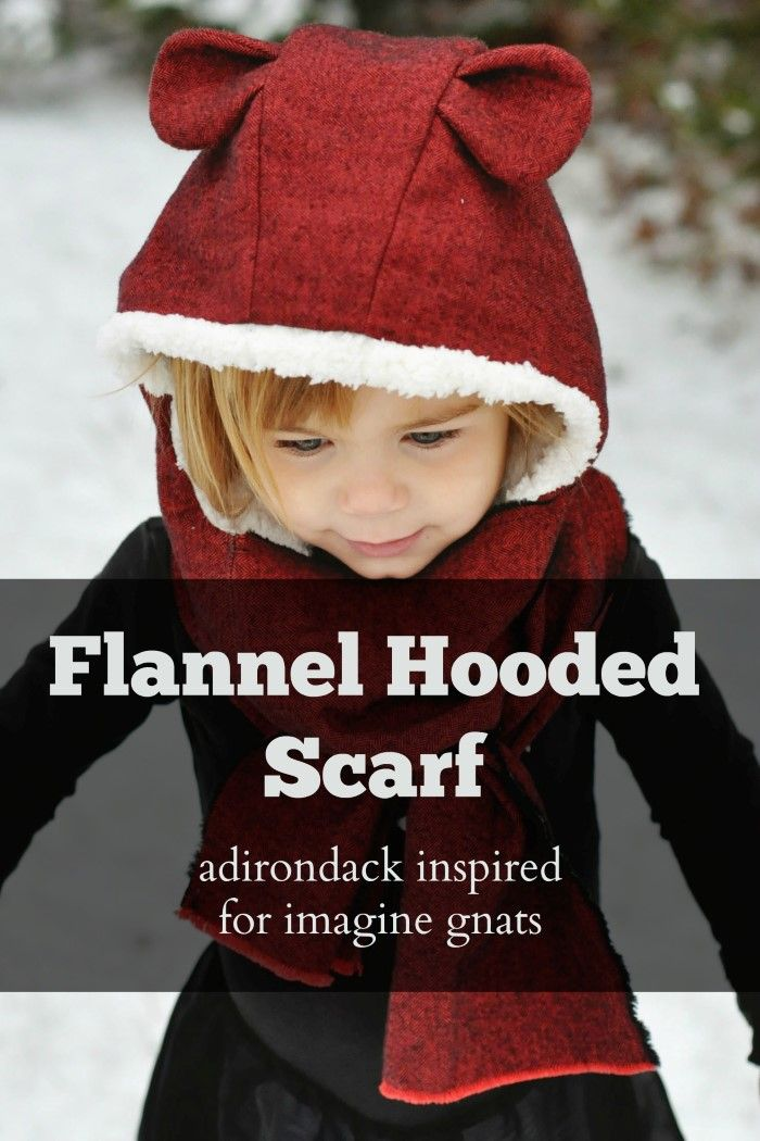 sewing: DIY flannel hooded scarf | Nähen, Kinderkleidung und Mütze