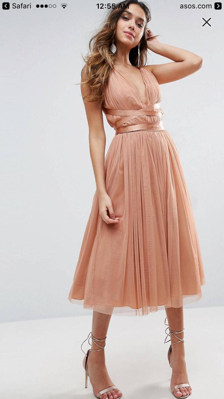 d7cf68fc1285 Asos Premium Tulle Midi Prom Dress With Ribbon Ties