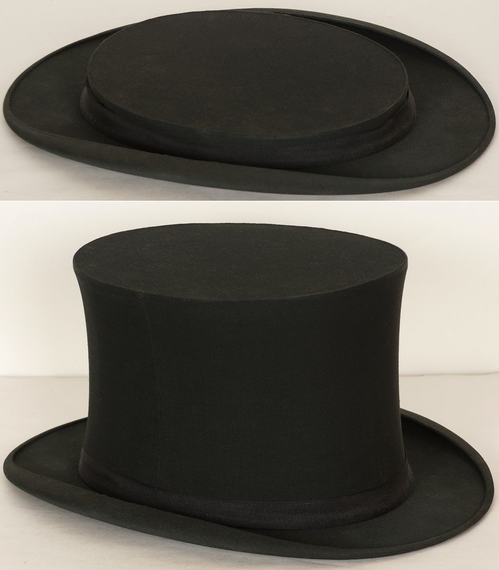 689e190ac6c Antique Gibus Collapsible Silk Top Hat    19th century Opera Hat Chapeau  Claque Mens Size M 7 1 8