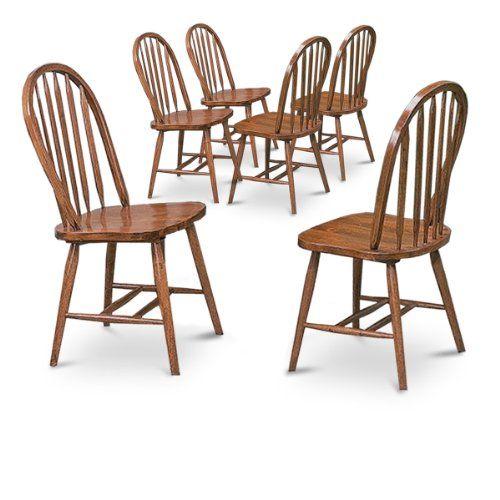6 Dark Oak Stain Kitchen Dining Arrow Back Chairs Set Oak Dining